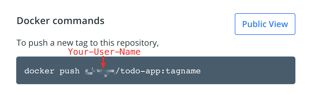 Docker command with push example