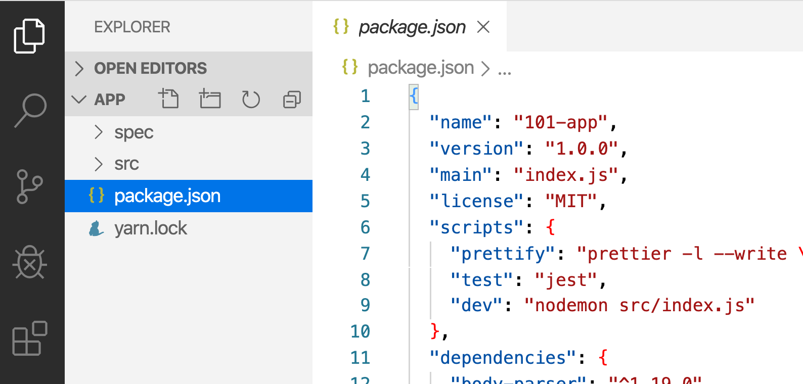 Screenshot of Visual Studio Code opened with the app loaded